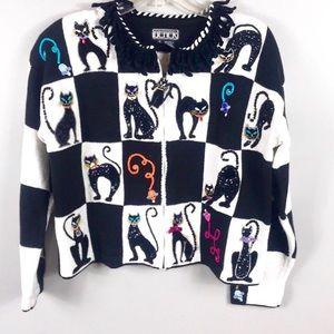Vintage 80's Crazy Cat Sweater size s